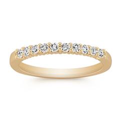 Ten-Stone Classic Round Diamond Wedding Band in Yellow Gold