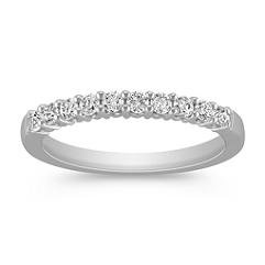 Classic Ten-Stone Round Diamond Wedding Band in White Gold