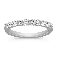 Round Diamond Ten-Stone Wedding Band in White Gold