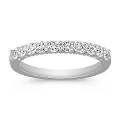 Round Diamond Ten-Stone Wedding Band in White Gold