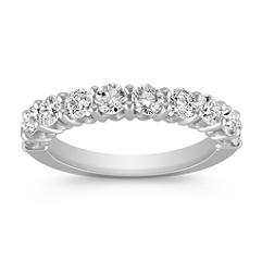 Ten-Stone Round Diamond Wedding Band in White Gold