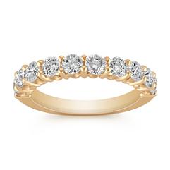 Ten-Stone Round Diamond Wedding Band in Yellow Gold