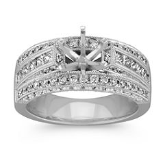 Vintage Cathedral Engagement Ring with Flanking Rows of Pave Set Diamonds