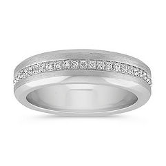 Center Lined Diamond Wedding Band with Brushed Finish