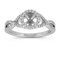 Infinity Swirl Halo Engagement Ring with Pave Setting