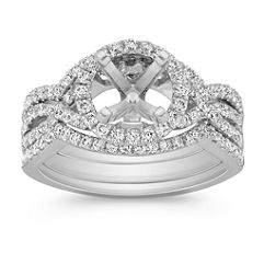 Halo Swirl Diamond Triple Band Wedding Set with Pave-Setting