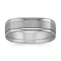 Square 14k White Gold Comfort Fit Ring with Satin Finish (6mm)