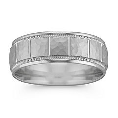 14k White Gold Ring with Hammered Finish and Engraved Lines (7mm)