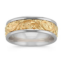 Engraved Comfort Fit Wedding Band in Two-Tone Gold (7mm)