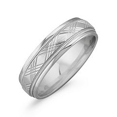 14k White Gold Cross Hatched Wedding Band (6mm)