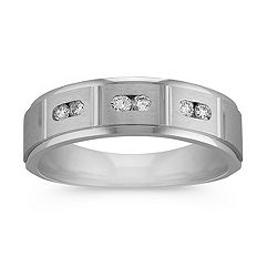 Round Diamond Ring with Channel Setting and Satin Finish (6.5mm)
