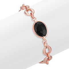 Rose Plated Sterling Silver and Black Agate Bracelet (7.5 in.)