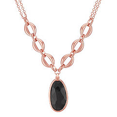 Oval Black Agate and Rose Sterling Silver Necklace (17 in.)