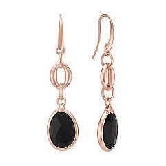 Black Agate Dangle Earrings in Rose Sterling Silver