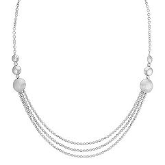 Circle and Shimmer Necklace in Sterling Silver (17 in.)