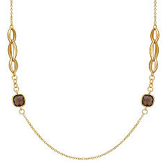 Smoky Quartz Necklace in Yellow Sterling Silver (28 in.)