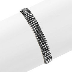 White and Black Sterling Silver Mesh Bangle Bracelet (7.75 in.)