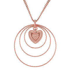 Rose Sterling Silver Circle and Heart Pendant (18 in.)