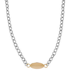 Engravable Sterling Silver and 14k Yellow Gold Cable Chain Necklace (18 in.)