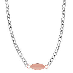 Engravable Sterling Silver and 14k Rose Gold Cable Chain Necklace (18 in.)