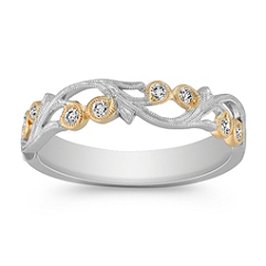 Vintage Diamond Wedding Band with Pave Setting in Two-Tone Gold
