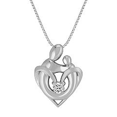 White Sapphire Mother & Child Pendant in Sterling Silver (18 in.)