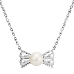 6-8mm Cultured Freshwater Pearl Bow Pendant in Sterling Silver (18)