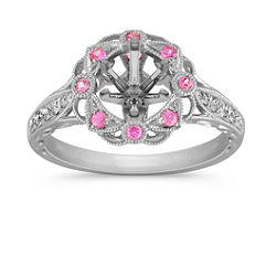 Vintage Pink Sapphire and Diamond Halo Engagement Ring with Pave Setting