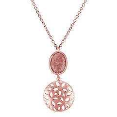 Floral Rose Sterling Silver and Pink Rhodonite Pendant (18 in.)