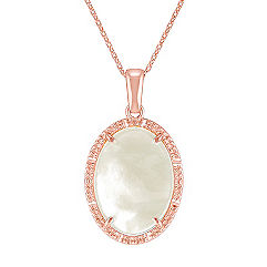 Vintage Mother of Pearl Oval Pendant in Rose Sterling Silver (18 in.)