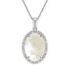 Mother of Pearl Vintage Oval Pendant in Sterling Silver (18 in.)