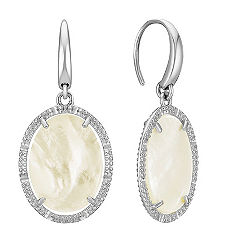 Mother of Pearl Vintage Oval Earrings in Sterling Silver