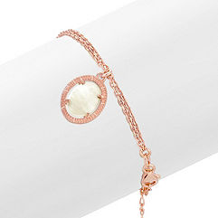 Mother of Pearl Dangle Bracelet in Rose Sterling Silver (7.5 in.)