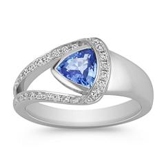 Trillion Kentucky Blue Sapphire and Round Diamond Ring