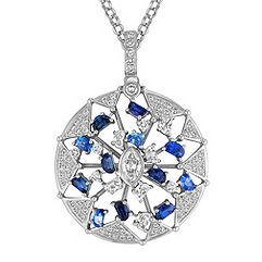 Half Moon Sapphire and Diamond, Marquise and Round Diamond Circle Pendant (18 in.)
