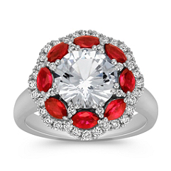 Marquise Ruby and Round White Sapphire and Diamond Ring