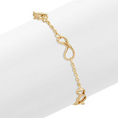 Infinity and Chain Bracelet in Yellow Gold (7 in.)