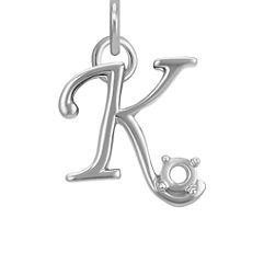 14k White Gold Letter K Charm (1/2 in. W x 1/2 in. H)