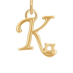 14k Yellow Gold Letter K Charm (1/2 W x 1/2 H)