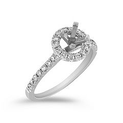 Round Halo Engagement Ring with Round Pavé-Set Diamonds