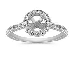 Round Halo Engagement Ring with Round Pave-Set Diamonds