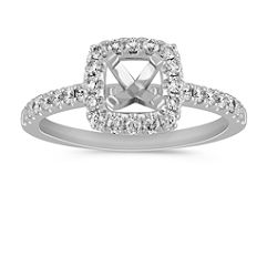 Pave Set Halo Engagement Ring
