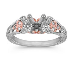Vintage Diamond Engagement Ring in White Gold with Rose Gold Leaf Accents