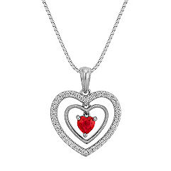 Heart Shaped Ruby and Round Diamond Three Piece Heart Pendant (18 in.)