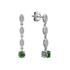 Round Green Sapphire and Diamond Sectioned Dangle Earrings