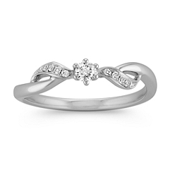 Crisscross Diamond Ring in Sterling Silver