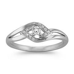 Arrow Diamond Ring in Sterling Silver