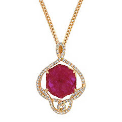 Polished Rough Ruby and Diamond Pendant (18 in.)