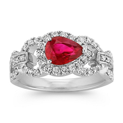 Sideways Pear Shaped Ruby and Diamond Ring