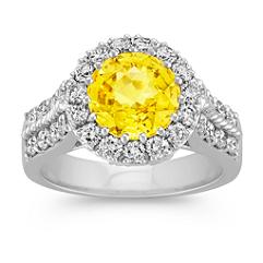 Round Yellow Sapphire and Diamond Halo Ring